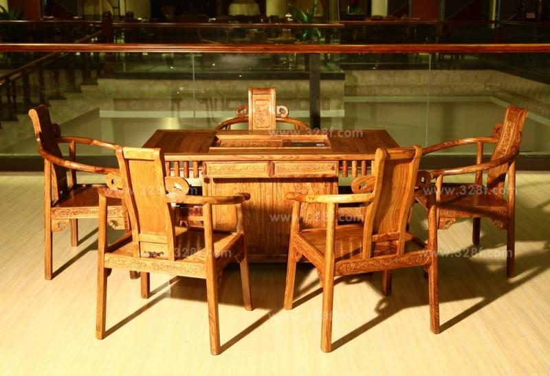 非洲花梨宝鼎茶台六件套