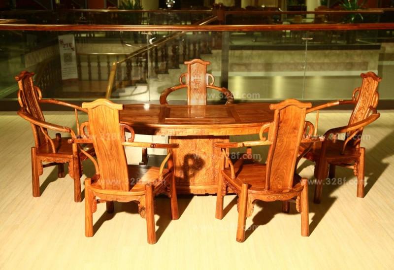 非洲花梨腰型茶台六件套