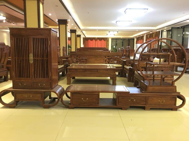 【齐天奇】非洲花梨新中式三组合电视柜