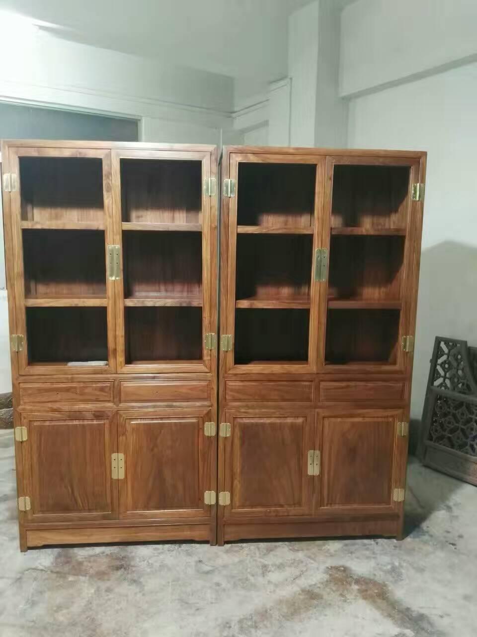 【双发厂】非洲黄花梨,明式书柜