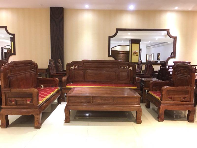 【齐天奇】刺猬紫檀素面国色天香沙发123 6件套