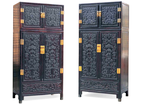 清乾隆紫檀高浮雕九龙西番莲纹顶箱式大四件柜--北京保利国际拍卖有限公司