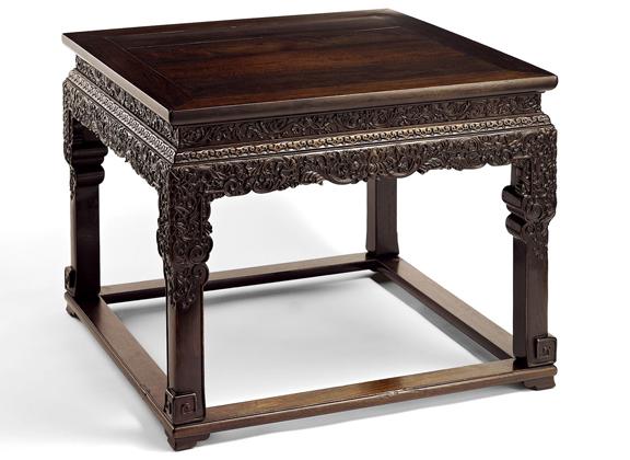 清乾隆 紫檀雕西番莲纹方桌--上海道明拍卖有限公司