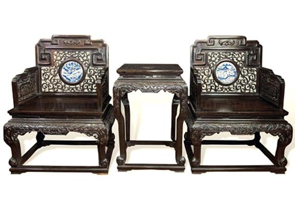 清晚期 紫檀西番莲纹嵌瓷板四椅二几 (六件)--上海新华拍卖有限公司
