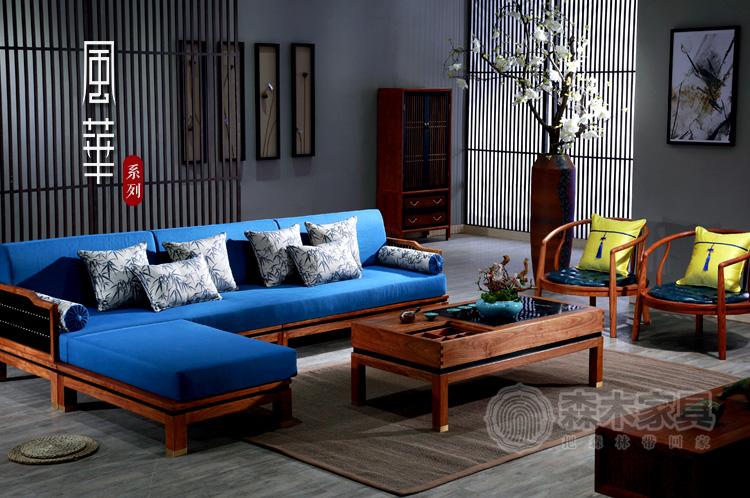 红木软体贵妃转角沙发花梨木刺猬紫檀新中式现代简约客厅实木家具