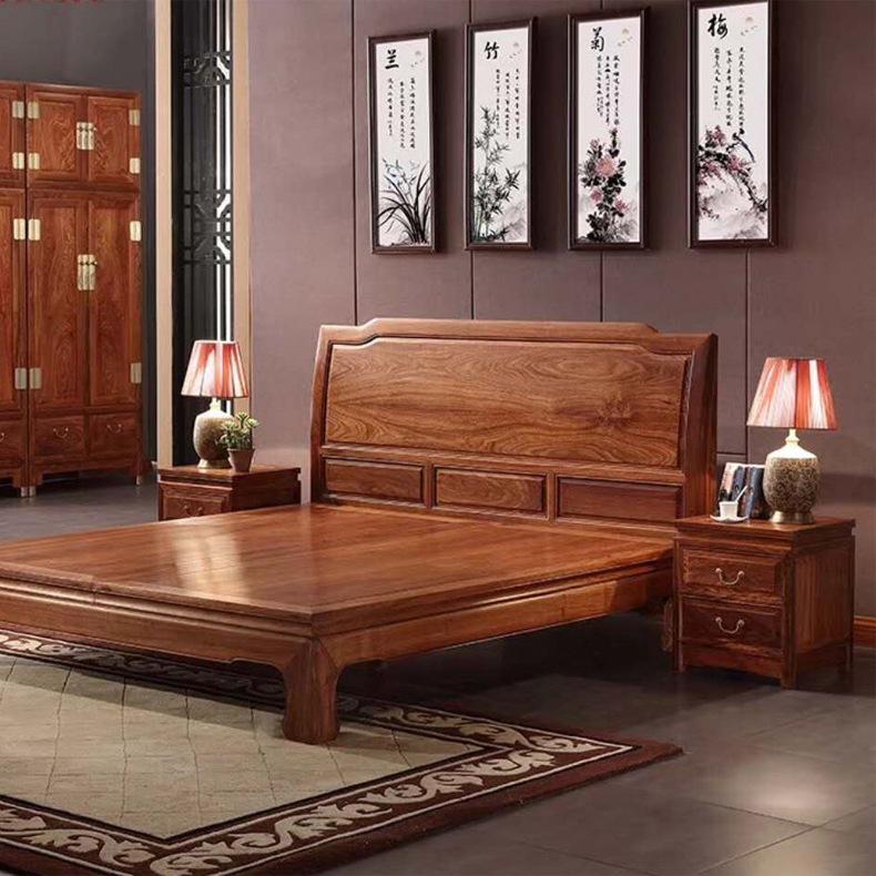 比绍刺猬紫檀1.8米新中式富贵大床