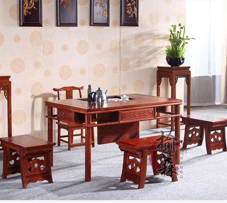 刺猬紫檀新中式茶台