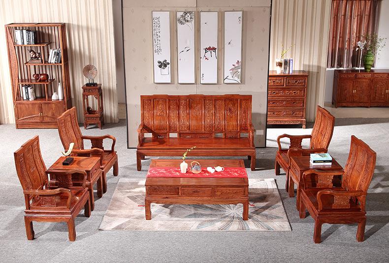 刺猬紫檀万字沙发八件套