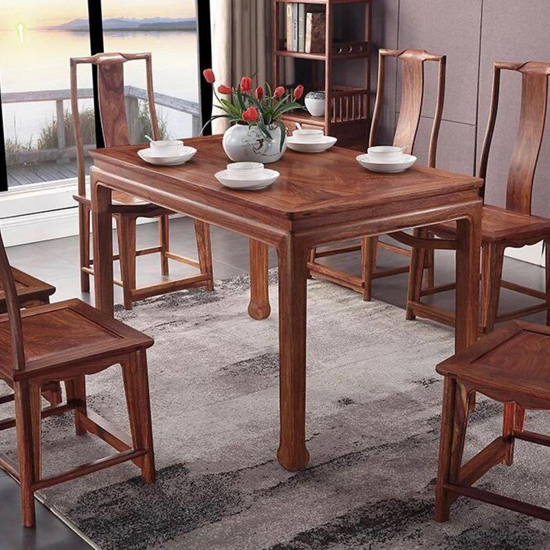 比绍刺猬紫檀1.48m明式长方餐桌